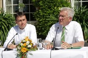 Ministerpräsident Winfried Kretschmann (r.) und sein Stellvertreter, Finanz- und Wirtschaftsminister Dr. Nils Schmid (l.)