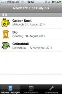 Screenshot der Abfall-MA App - anstehende Termine