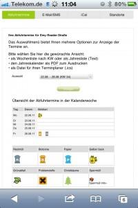 Screenshot des Online Abfallkalenders - Termine mit Legende
