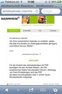 Screenshot des Online Abfallkalenders - Auswahl der Straße