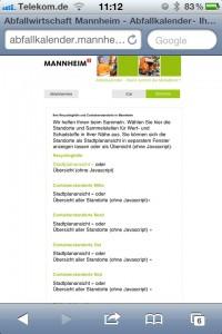 Screenshot Abfallkalender online - Zusatzfunktionen
