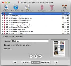 mit dem Audiobook Builder werden Kapitel zum Hörbuch zusammengesetzt