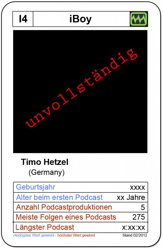 Quartettkarte Timo Hetzel - unvollständig
