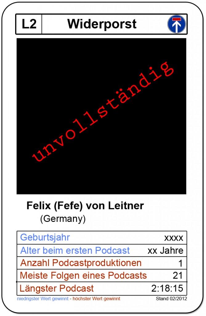 unvollständige Quartettkarte Felif (Fefe) von Leitner