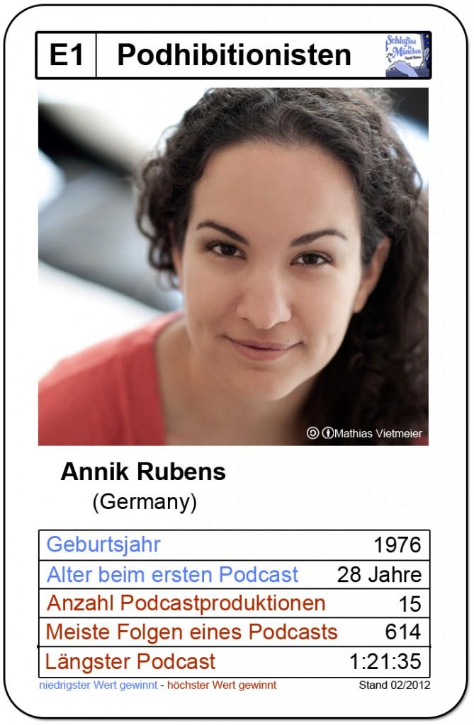 Quartettkarte Annik Rubens